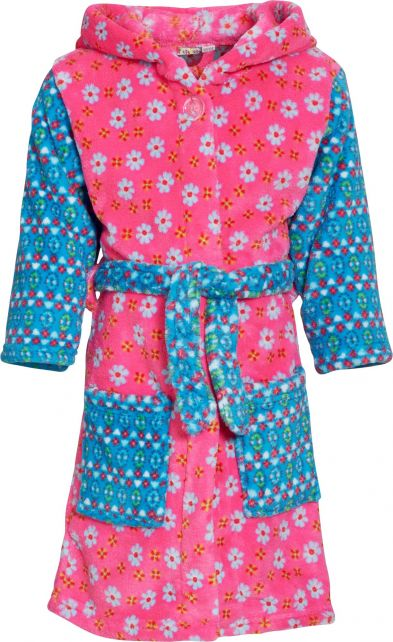Playshoes---Fleece-Bademantel-mit-Kapuze---Blumen-Rosa