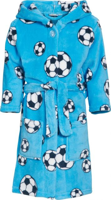 Playshoes---Fleece-Bademantel-mit-Kapuze---Fußball-Blau