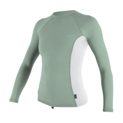 O'Neill---Damen-UV-Shirt---Langarm---Minze-/-Weiß