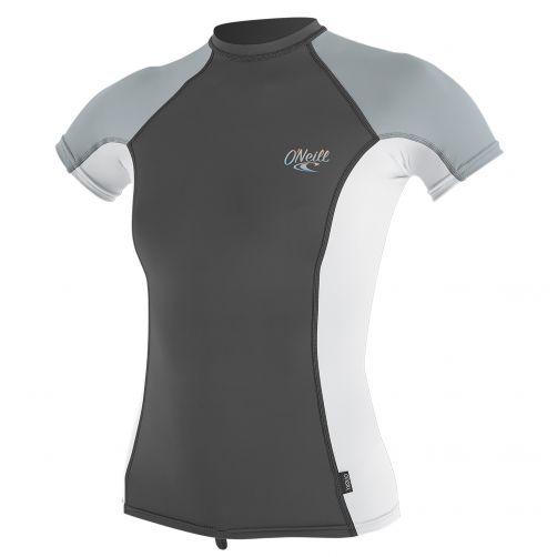 O'Neill---Damen-UV-Shirt---Kurzarm---Weiß-/-Grau