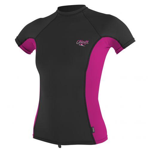 O'Neill---Damen-UV-Shirt---Kurzarm---Schwarz-/-Pink