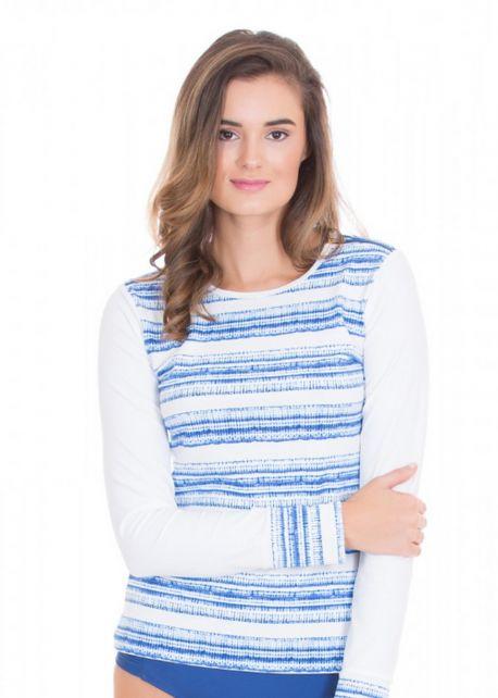 Cabana-Life---UV-Schutz-Rashguard-mit-Reissverschluss-für-Damen---Blau/Weiss