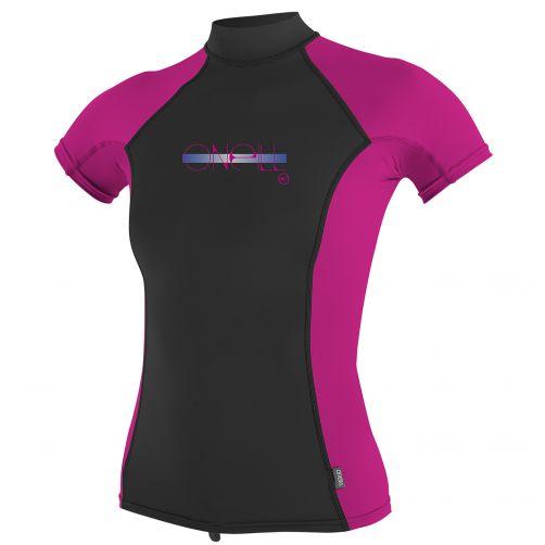O'Neill---UV-T-Shirt-für-Mädchen---Turtleneck---Pink-/-Schwarz