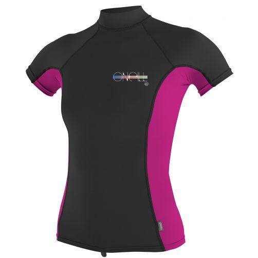O'Neill---Damen-UV-Shirt---Kurzarm-Turtleneck---Schwarz-/-Pink