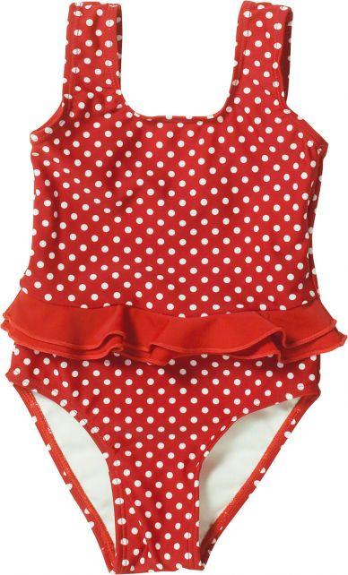 Playshoes---UV-Badeanzug-für-Mädchen---Rüschenband---Punkte---Rot
