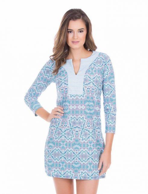 Cabana-Life---UV-Schutz-Tunikakleid-für-Damen---Blau/Weiss