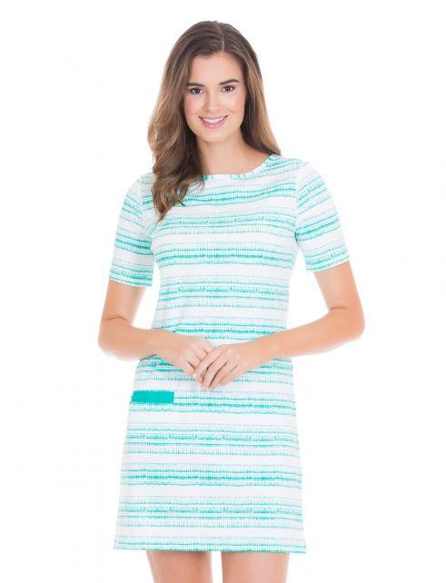 Cabana-Life---UV-Schutz-kurzärmliges-Kleid-für-Damen---Türkis/Weiss
