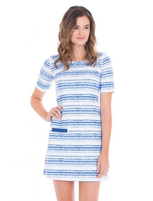 Cabana-Life---UV-Schutz-kurzärmliges-Kleid-für-Damen---Blau/Weiss