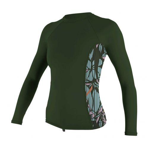 O'Neill---UV-Shirt-für-Damen---langärmlig---Rash-Guard---Olivgrün