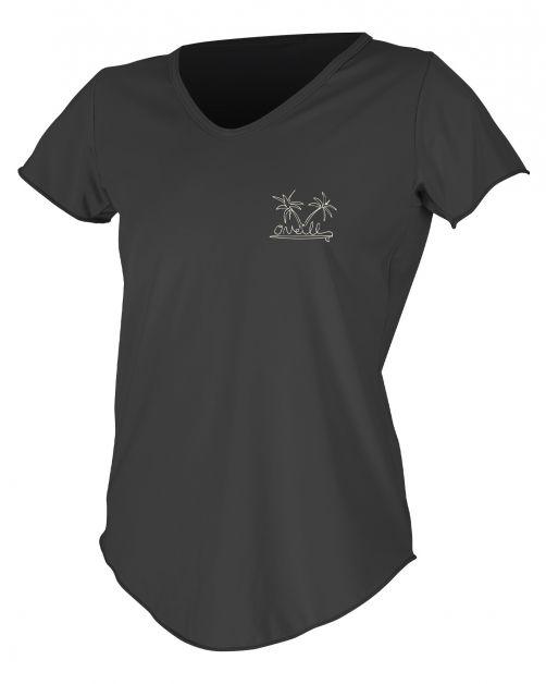O'Neill---UV-Shirt-für-Damen---kurzärmlig---Graphic-Sun---Schwarz