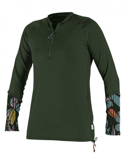O'Neill---UV-Shirt-für-Damen---langärmlig---Front-Zip---Olivgrün