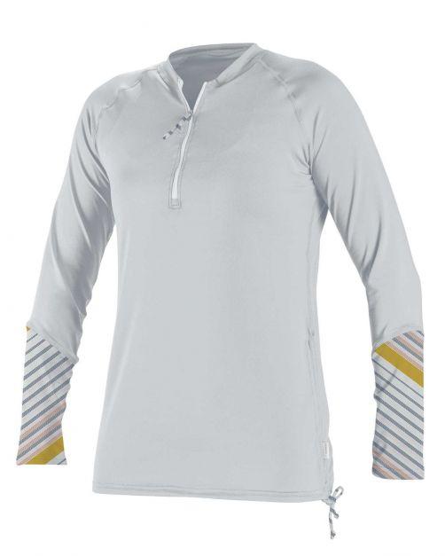 O'Neill---UV-Shirt-für-Damen---langärmlig---Front-Zip---Weiß