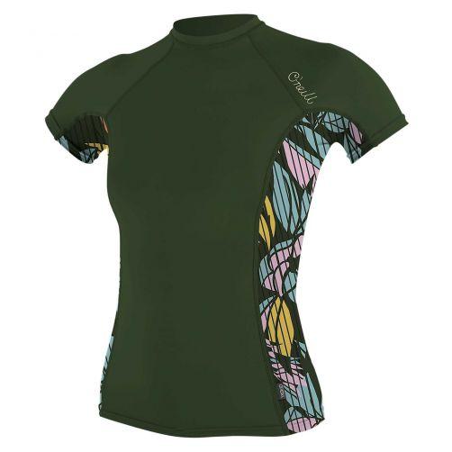 O'Neill---UV-Shirt-für-Damen---kurzärmlig---Rash-Guard---Olivgrün