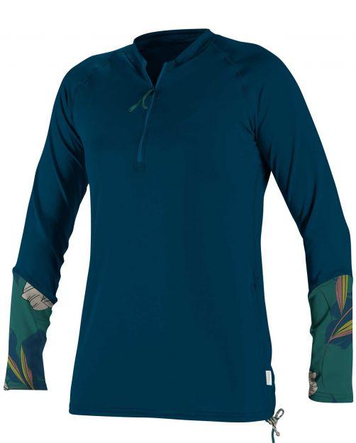 O'Neill---UV-Shirt-für-Damen---langärmlig---Front-Zip---Marineblau