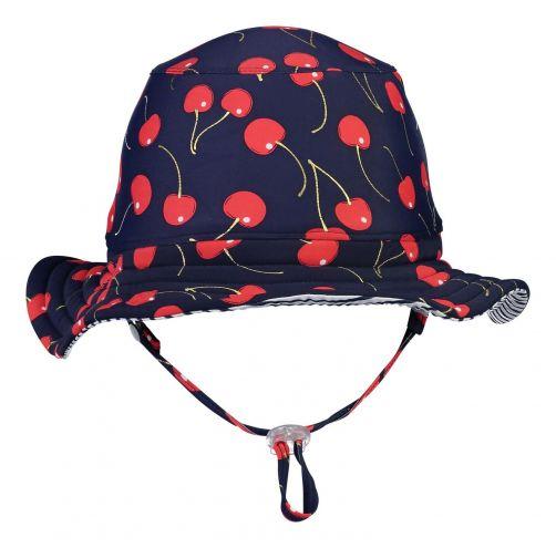 Snapper-Rock---Wendbarer-UV-Bucket-Hut-für-Mädchen---Ma-Cherie---Navy-Kirsche/Blau-Weiß-gestreift