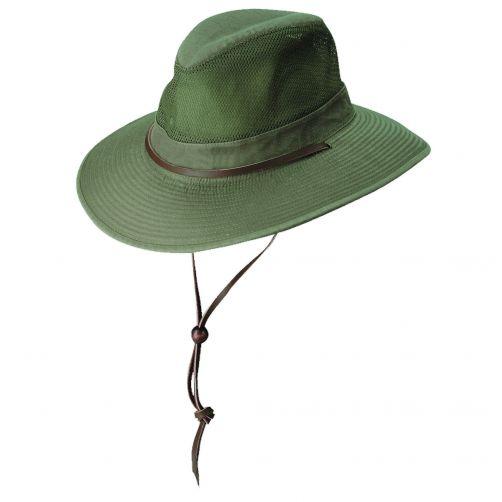Dorfman-Pacific---UV-Schutz-ventilierender-Hut-für-Herren---Olive
