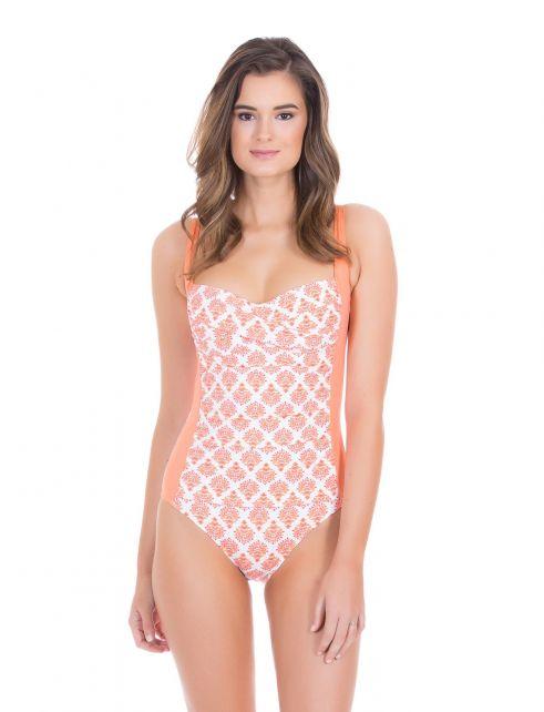 Cabana-Life---UV-Schutz-Badeanzug-für-Damen---Orange/Weiss