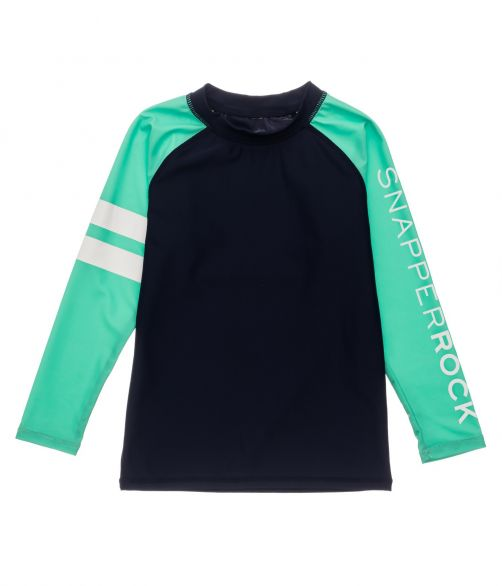 Snapper-Rock---UV-Rash-Top-für-Jungen---Langarm---Marineblau/Mint-