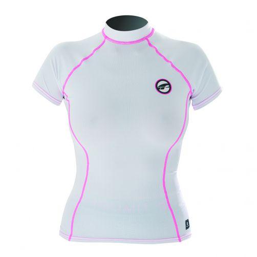 Prolimit---UV-Badeshirt-für-Damen---kurzärmlig---Weiß-/-Pink
