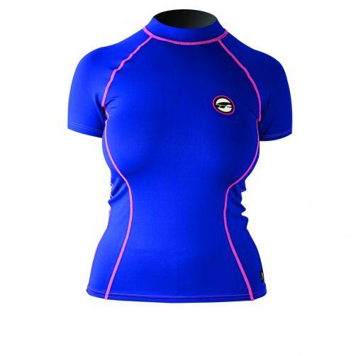 Prolimit---UV-Badeshirt-für-Damen---kurzärmlig---Blau-/-Pink