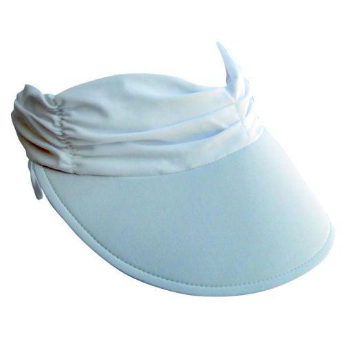 Rigon---Sonnenkappe-für-Damen-aus-gerafftem-Stoff---Weiß