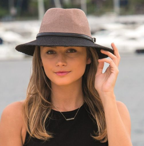 Rigon---UV-Sonnenhut-für-Damen-mit-Hutband---Schwarz-/-Mocca