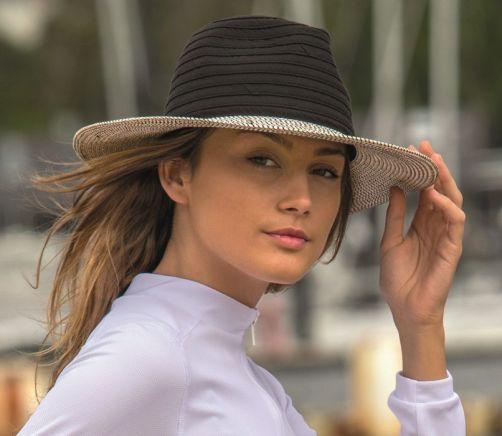 Rigon---UV-Fedorahut-für-Damen---Schwarz-/-Weiß