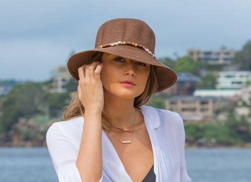 Rigon---UV-Bucket-Hut-für-Damen-mit-Perlen---Braun