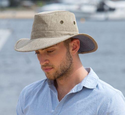 Rigon---UV-Safarihut-für-Herren---Steingrau-/-beige