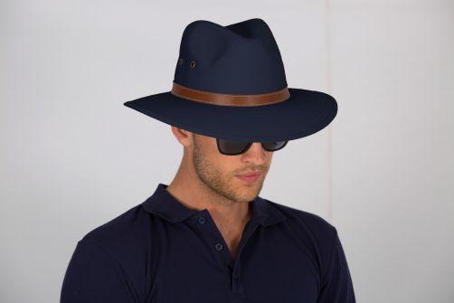 Rigon---UV-Fedorahut-für-Herren---Canvas---Marineblau