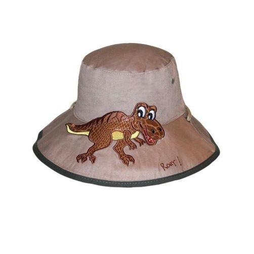 Rigon---UV-Sonnenhut-für-Kinder---Khaki-/-Dinoaufdruck