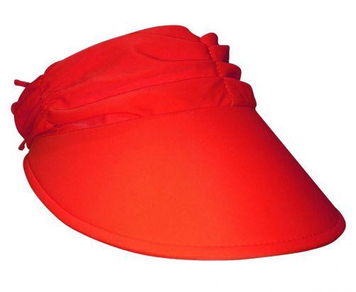 Rigon---Sonnenkappe-für-Damen-aus-gerafftem-Stoff---Rot